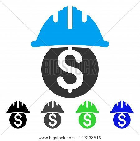 Dollar Safety Helmet flat vector pictogram. Colored dollar safety helmet gray, black, blue, green icon variants. Flat icon style for application design.