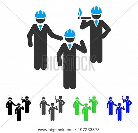 Engineer Persons Discussion flat vector pictogram. Colored engineer persons discussion gray, black, blue, green pictogram variants. Flat icon style for graphic design.