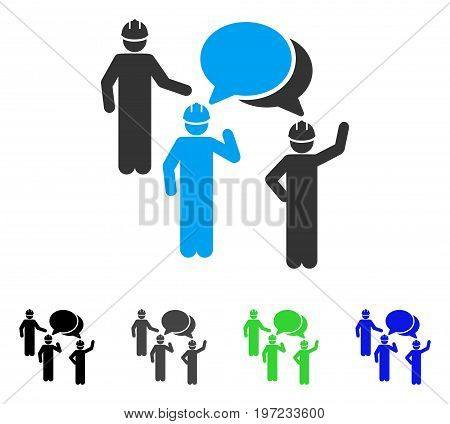 Engineer Persons Forum flat vector icon. Colored engineer persons forum gray, black, blue, green pictogram versions. Flat icon style for application design.