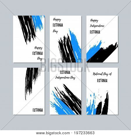 Estonia Patriotic Cards For National Day. Expressive Brush Stroke In National Flag Colors On White C