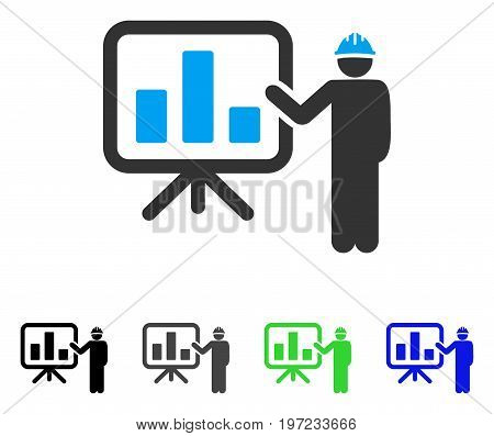 Engineer Pointing Chart Board flat vector illustration. Colored engineer pointing chart board gray, black, blue, green icon variants. Flat icon style for application design.