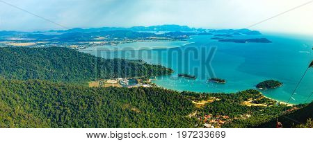 Panoramic view of blue sky sea and mountain seen from Cable Car viewpoint, Langkawi Island, Malaysia.