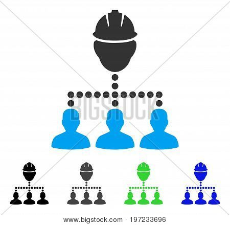 Engineer Staff Relations flat vector icon. Colored engineer staff relations gray, black, blue, green pictogram versions. Flat icon style for graphic design.