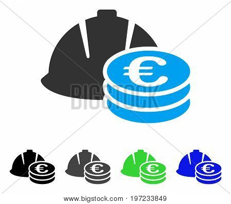 Euro Coins And Helmet flat vector pictogram. Colored euro coins and helmet gray, black, blue, green pictogram variants. Flat icon style for graphic design.