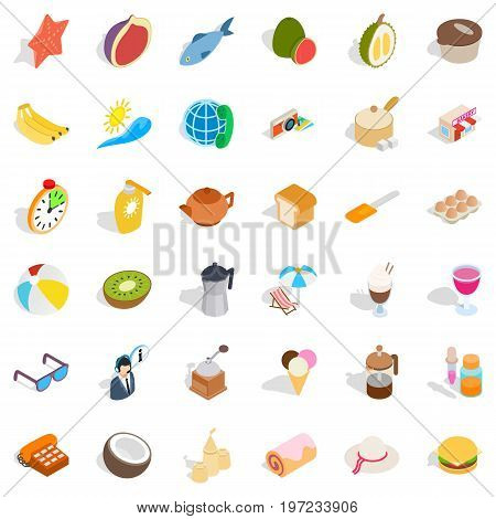 Relaxation icons set. Isometric style of 36 relaxation vector icons for web isolated on white background