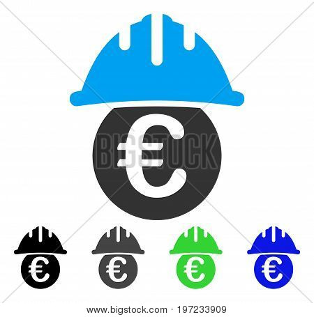 Euro Under Safety Helmet flat vector pictogram. Colored euro under safety helmet gray, black, blue, green pictogram variants. Flat icon style for graphic design.