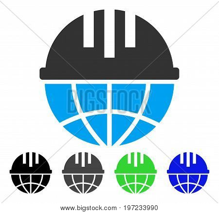 Global Helmet flat vector pictogram. Colored global helmet gray, black, blue, green icon versions. Flat icon style for web design.