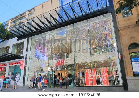 BRISBANE AUSTRALIA - JULY 9, 2017: Unidentified people shop at H&M. H&M is a Swedish multinational clothing company and has branches in 53 countries as of 2013.