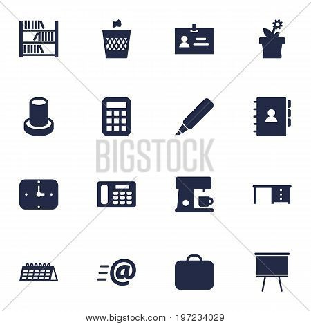 Collection Of Book, Calculate, Urn And Other Elements.  Set Of 16 Bureau Icons Set.