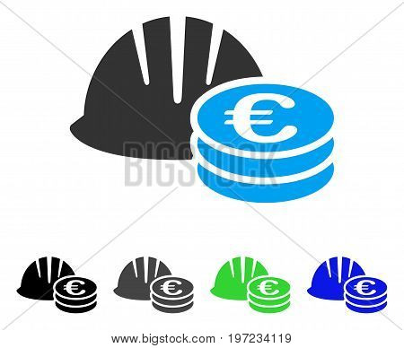Helmet And Euro Coins flat vector icon. Colored helmet and euro coins gray, black, blue, green icon variants. Flat icon style for graphic design.