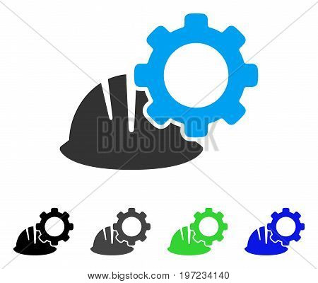 Helmet And Gear flat vector icon. Colored helmet and gear gray, black, blue, green pictogram versions. Flat icon style for web design.
