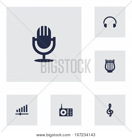 Collection Of Radio, Earphones, Lyre And Other Elements.  Set Of 6 Melody Icons Set.