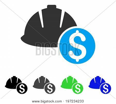 Helmet Price flat vector pictogram. Colored helmet price gray, black, blue, green pictogram versions. Flat icon style for graphic design.