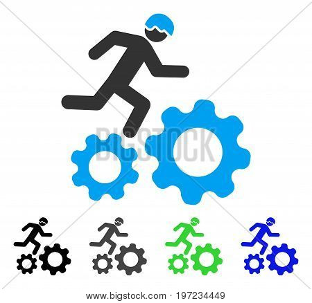 Running Developer Over Gears flat vector pictogram. Colored running developer over gears gray, black, blue, green pictogram versions. Flat icon style for web design.