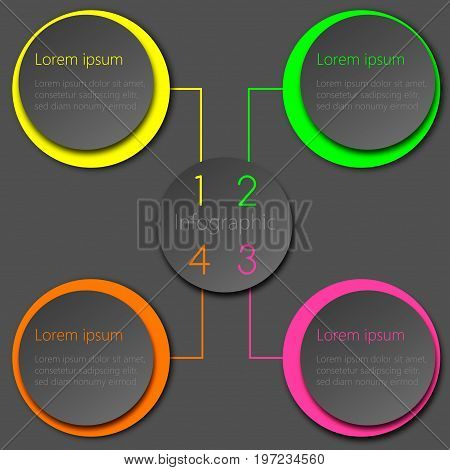 Colorful vector infographic design template; circles in neon and grey shades with 3D effect.