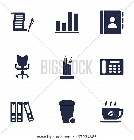 Collection Of Trash Can, Contract, Pencil Stand Elements.  Set Of 9 Bureau Icons Set.