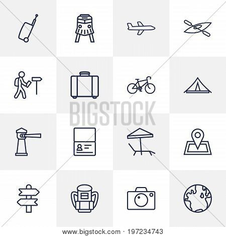 Collection Of Front View Tram, Lighthouse, Foreigner And Other Elements.  Set Of 16 Travel Outline Icons Set.