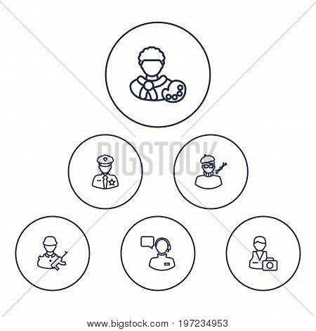 Collection Of Soldier, Designer, Policeman And Other Elements.  Set Of 6 Position Outline Icons Set.