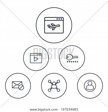 Collection Of Stock Exchange, Guest, Block And Other Elements.  Set Of 6 Search Outline Icons Set.