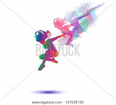 Beautiful woman dancer silhouette, Girl dancer isolated on white background. Modern dance. Vector illustration, drawing.