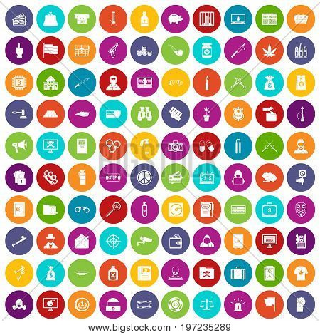 100 criminal offence icons set in different colors circle isolated vector illustration