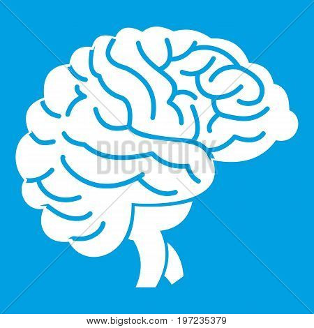 Brain icon white isolated on blue background vector illustration