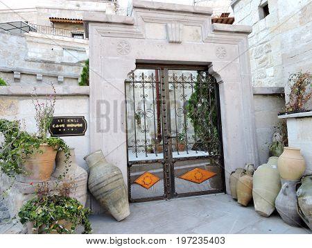 Gracious apartment entryway in Goreme, Cappadocia, Turkey