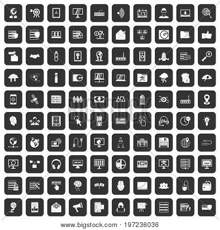 100 cyber security icons set in black color isolated vector illustration