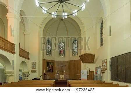 WINDHOEK NAMIBIA - JUNE 16 2017: Inside of the Christuskirche an historic German Lutherian church in Windhoek