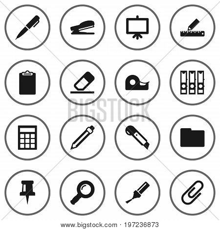 Collection Of Sticky, Puncher, Pushpin And Other Elements.  Set Of 16 Instruments Icons Set.