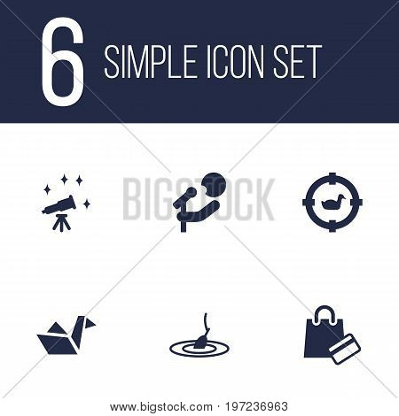 Collection Of Payment, Target, Paper Figure And Other Elements.  Set Of 6 Hobbie Icons Set.