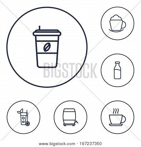 Collection Of Dairy, Coffee, Cappuccino And Other Elements.  Set Of 6 Beverages Outline Icons Set.