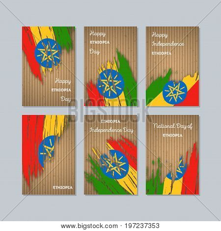 Ethiopia Patriotic Cards For National Day. Expressive Brush Stroke In National Flag Colors On Kraft