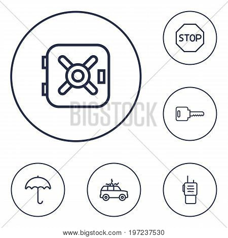 Collection Of Safe, Walkie-Talkie, Siren And Other Elements.  Set Of 6 Security Outline Icons Set.