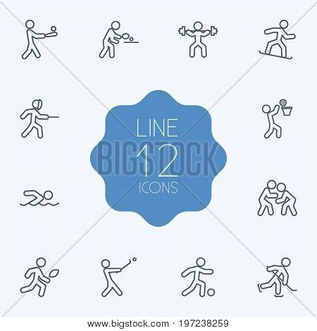Collection Of Stick, Snowboard, Puck And Other Elements.  Set Of 12 Athletic Outline Icons Set.