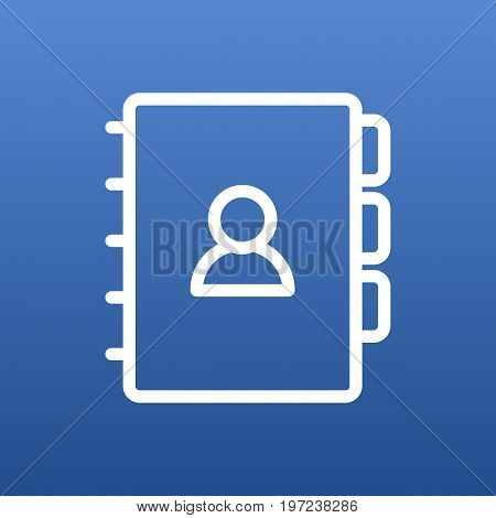Vector Book Element In Trendy Style.  Isolated Address Outline Symbol On Clean Background.
