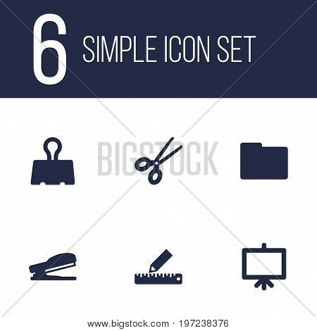 Collection Of Puncher, Paper  Clamp, Folder And Other Elements.  Set Of 6 Stationery Icons Set.