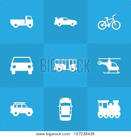 Collection Of Hatchback, Lorry, Car And Other Elements.  Set Of 9 Shipping Icons Set.