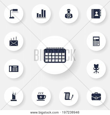Collection Of Diagram, Table Lighter, Address Book And Other Elements.  Set Of 13 Bureau Icons Set.