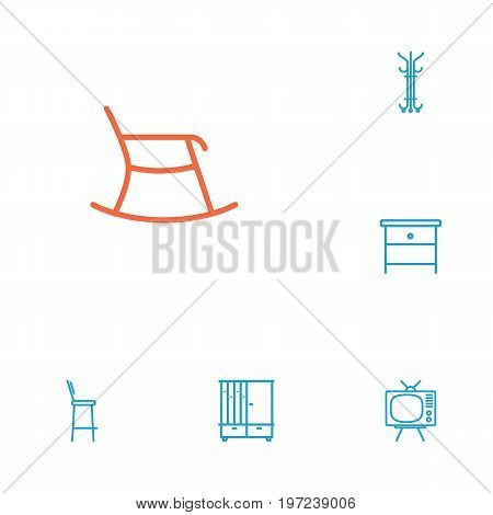 Collection Of Nightstand, Hanger, Tv Set Elements.  Set Of 6 Decor Outline Icons Set.