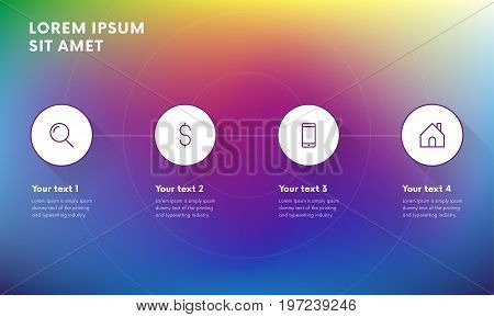 Infographic design elements for your business with 4 options, parts, steps or processes. Business concept with options. Gradient background. Long shadow. Vector Illustration.