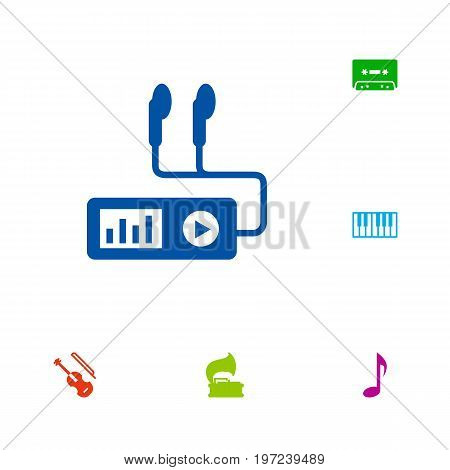 Collection Of Audio Device, Turntable, Tape And Other Elements.  Set Of 6 Melody Icons Set.