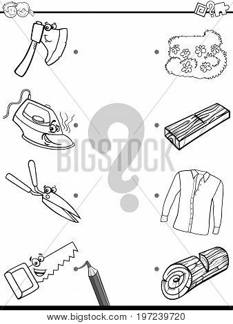 Match Objects Educational Coloring Page