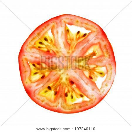 Isolate thin cross section tomato, a closeup photo image of thin cross section tomato isolate on bright white light background present a tomato fruit structure