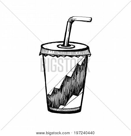 Hand Drawn Sketch of Soda Cup. Vintage Sketch. Great for Banner Label Poster