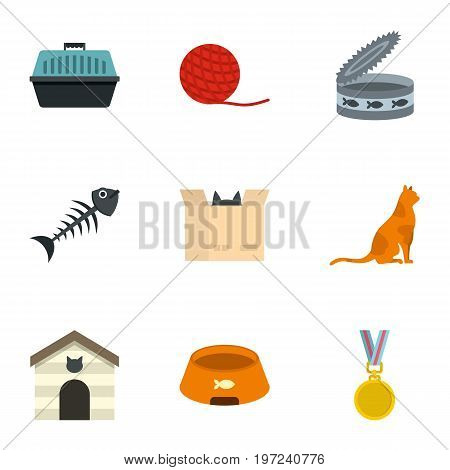 Cat house icons set. Cartoon set of 9 cat house vector icons for web isolated on white background