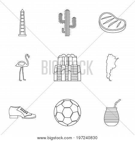 Buenos Aires travel icons set. Outline set of 9 Buenos Aires travel vector icons for web isolated on white background