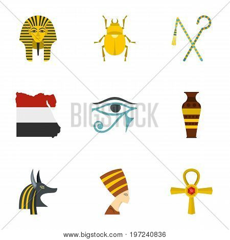 Egypt history icons set. Cartoon set of 9 Egypt history vector icons for web isolated on white background