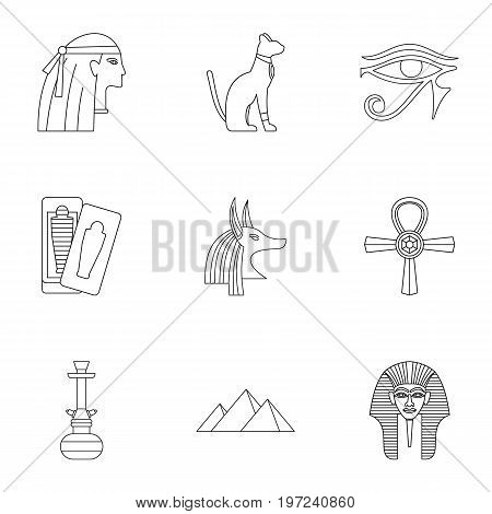 Egypt history icons set. Outline set of 9 Egypt history vector icons for web isolated on white background