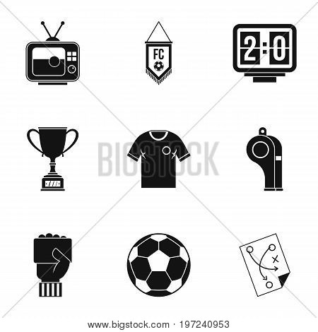 Football briefing icons set. Simple set of 9 football briefing vector icons for web isolated on white background
